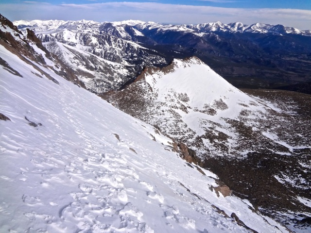 The main snowfield remaining on the north face above the Cables.