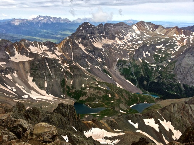 Blue Lakes, as seen from the summit of Sneffels.