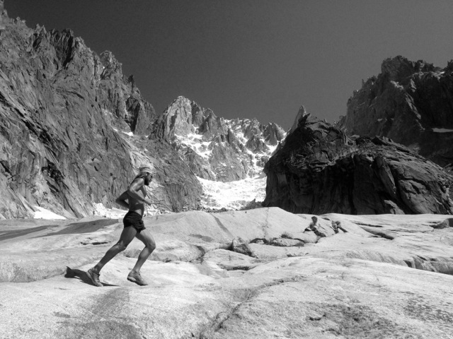 Crossing the slabs below the Charpoua Glacier on the way to the Refuge Charpoua on the backside of the Dru.