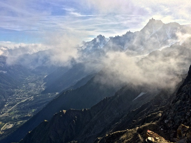 Looking 6000' back down to Chamonix from the Chemin des Rognes above Les Houches.