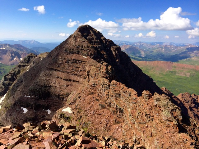 On the summit of North Maroon Peak, looking back at the traverse from South Maroon.